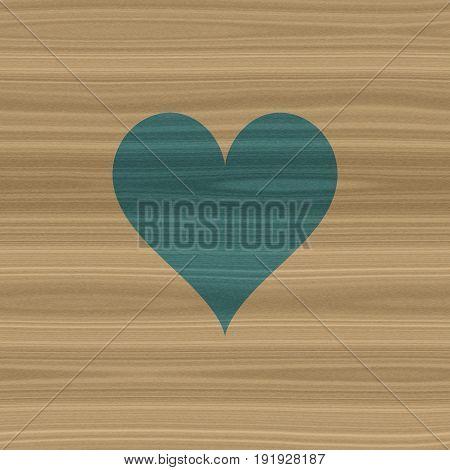 Natural rustic wooden wood symbol icon of indigo heart