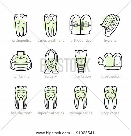 Icons for dentistry lines. Basic services of the dental clinic in the icons