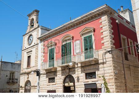 View of Putignano with clocktower. Puglia. Italy.