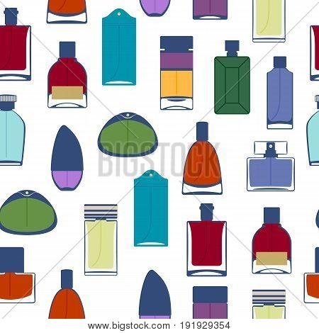 Perfume bottles icons seamless pattern. Eau de parfum background. Eau de toilette.