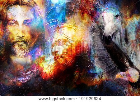 interpretation of Jesus on the cross and animals in cosmic space