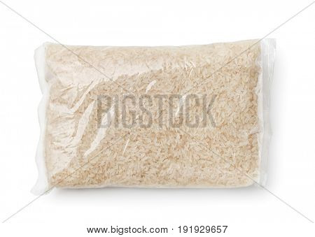 Top view of rice packed in plastic bag isolated on white