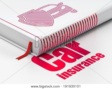 Insurance concept: closed book with Red Car And Shield icon and text Car Insurance on floor, white background, 3D rendering