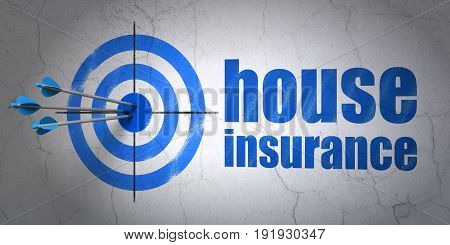 Success Insurance concept: arrows hitting the center of target, Blue House Insurance on wall background, 3D rendering