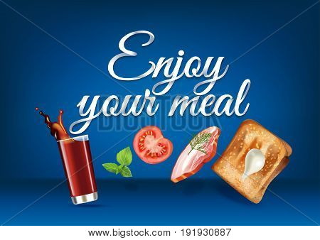 Enjoy your meal - paper hand lettering calligraphy. Vector realistic illustration with food drink objects and text.