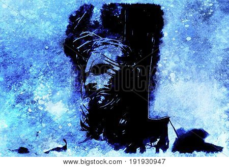 Jesus on the cross, avanrgard interpretation with graphic stylization. Winter effect