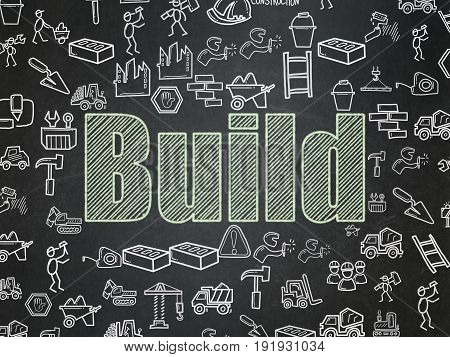 Building construction concept: Chalk Green text Build on School board background with  Hand Drawn Construction Icons, School Board
