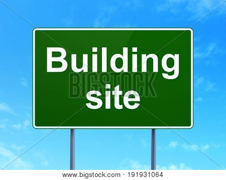 Constructing concept: Building Site on green road highway sign, clear blue sky background, 3D rendering