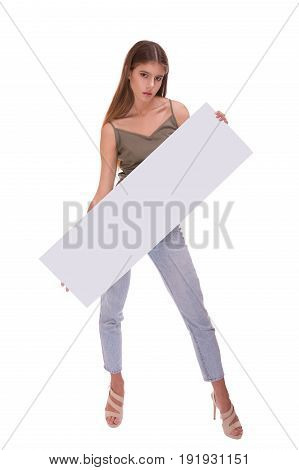 Young woman holding blank poster isolated on white backround