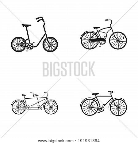 Children's bicycle, a double tandem and other types.Different bicycles set collection icons in black style vector symbol stock illustration .