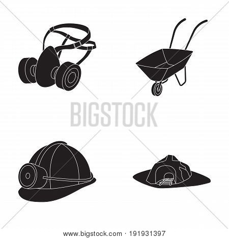 Headphones and raspirator, wheelbarrow, helmet with a lantern, the entrance to the mine.Mining industry set collection icons in black style vector symbol stock illustration .