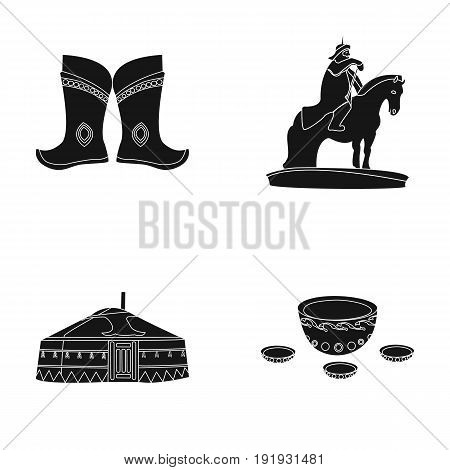 Military boots, a monument to the rider, a national tent, a milk drink. Mongolia set collection icons in black style vector symbol stock illustration .