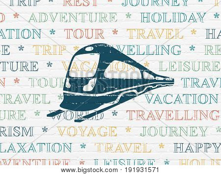 Tourism concept: Painted blue Train icon on White Brick wall background with  Tag Cloud