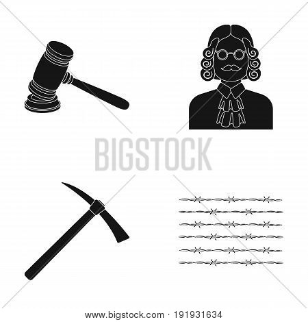 Judge, wooden hammer, barbed wire, pickaxe. Prison set collection icons in black style vector symbol stock illustration .