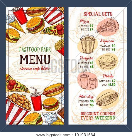 Fast food menu template design with prices for pizza, popcorn or burgers and drinks. Fastfood discount for hot dog sandwich, ice cream and donut cakes desserts and coffee or soda for cafe or bistro