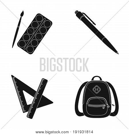 Multicolored paints with a tassel, pen, triangle and ruler, satchel, briefcase. School and education set collection icons in black style vector symbol stock illustration .