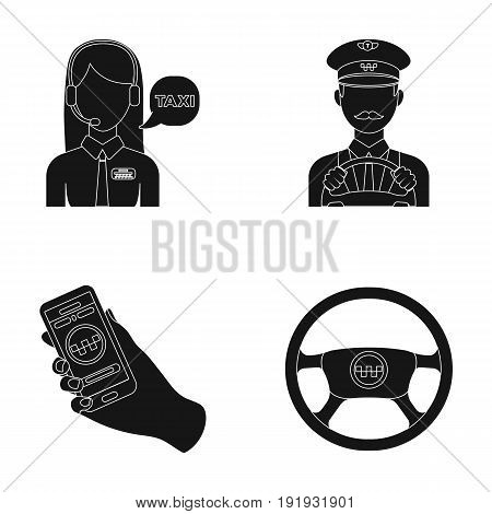 A taxi driver with a microphone, a taxi driver at the wheel, a cell phone with a number, a car steering wheel. Taxi set collection icons in black style vector symbol stock illustration .