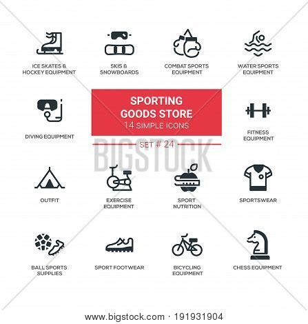 Sporting goods store - modern vector icons, pictograms set. Skates, hockey, combat, swimming, diving, fitness, bicycling, chess, skis, snowboard, nutrition, ball, footwear, sportswear, outfit