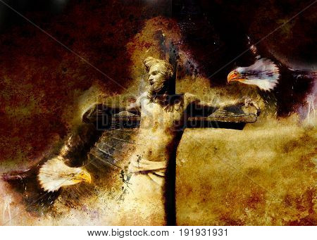 interpretation of Jesus on the cross and eagles, graphic painting version. Sepia effect