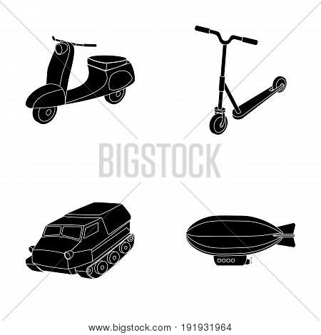 Motorcycle, scooter, armored personnel carrier, aerostat types of transport. Transport set collection icons in black style vector symbol stock illustration .