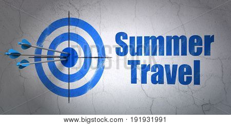 Success travel concept: arrows hitting the center of target, Blue Summer Travel on wall background, 3D rendering