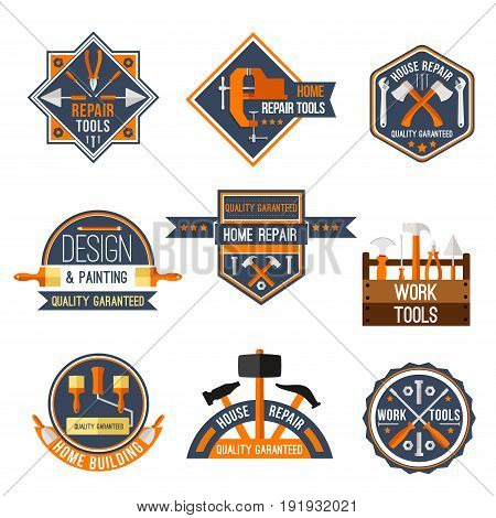 Home repair, carpentry and painting work tools vector icons set. Isolated labels of instruments toolbox with hammer, ruler or mallet and paint brush, screwdriver and drill or wrench spanner