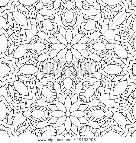 Doodles mandala seamless pattern. Adult coloring page. Black and white florale elements. Repeat pattern background. Hand drawn vector illustration.