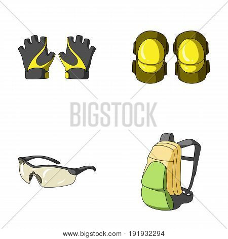 Gloves, elbow pads, goggles, cyclist backpack.Cyclist outfit set collection icons in cartoon style vector symbol stock illustration .