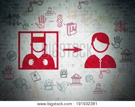 Law concept: Painted red Criminal Freed icon on Digital Data Paper background with Scheme Of Hand Drawn Law Icons