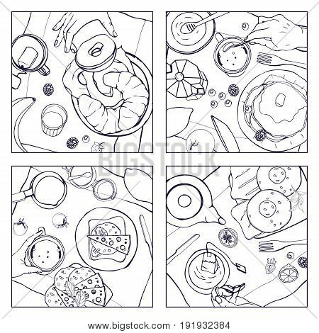 Set of different breakfast, top view. Square illustrations with luncheon. Healthy, fresh brunch drink, pancakes, sandwiches, eggs, croissants and fruits. Black and white hand drawn vector collection