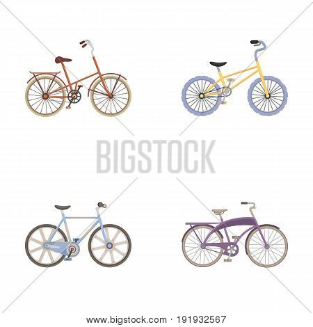 Children's bicycle and other kinds.Different bicycles set collection icons in cartoon style vector symbol stock illustration .