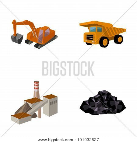 Excavator, dumper, processing plant, minerals and ore.Mining industry set collection icons in cartoon style vector symbol stock illustration .