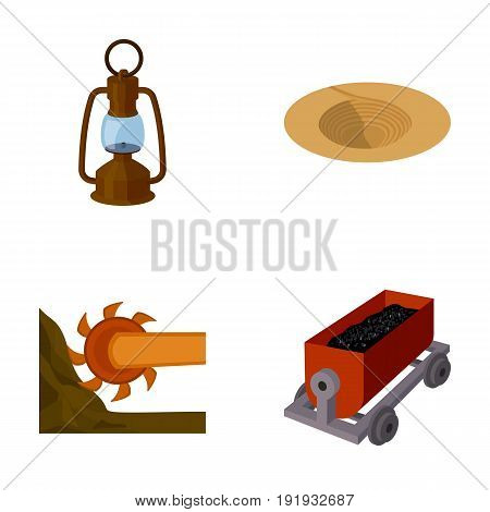 A miner's lamp, a funnel, a mining combine, a trolley with ore.Mining industry set collection icons in cartoon style vector symbol stock illustration .