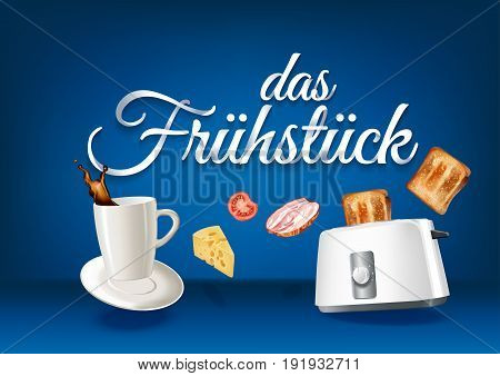 Breakfast in german language paper hand lettering calligraphy. Vector realistic illustration with food drink objects and text.