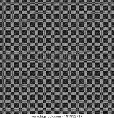 Grid faded denim gray texture. Vector background. Checkered frayed Jeans fabric seamless pattern