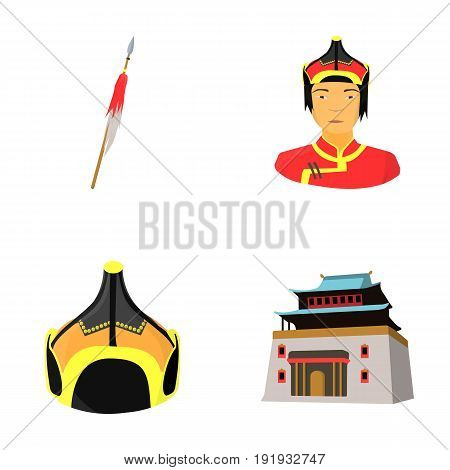 Military spear, Mongolian warrior, helmet, building.Mongolia set collection icons in cartoon style vector symbol stock illustration .
