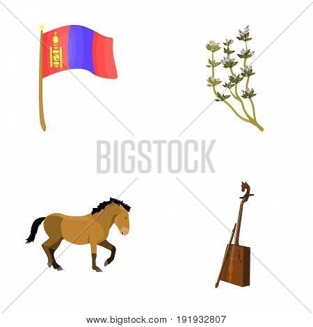 National flag, horse, musical instrument, steppe plant. Mongolia set collection icons in cartoon style vector symbol stock illustration .