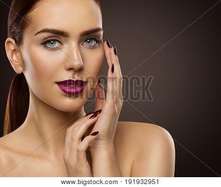 Woman Beauty Makeup Fashion Model Face Make Up Eyes Lips Nails