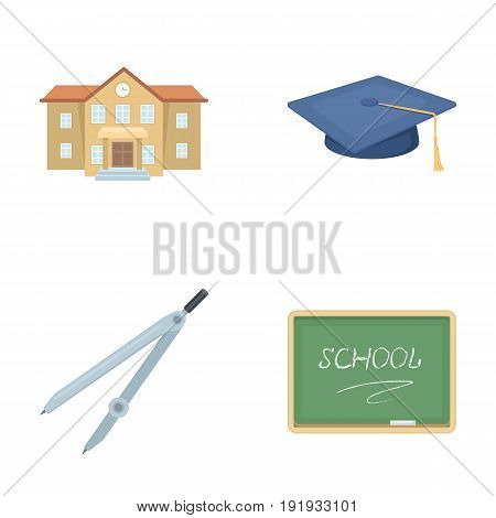 School building, college with windows, a master's or applicant's hat, compasses for a circle, a board with a chalk school inscription. School and education set collection icons in cartoon style vector symbol stock illustration .