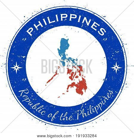 Philippines Circular Patriotic Badge. Grunge Rubber Stamp With National Flag, Map And The Philippine