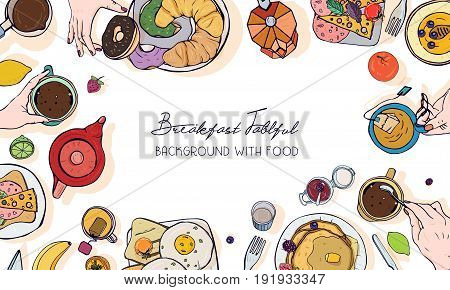 Horizontal advertising banner on breakfast theme. Backdrop with drink, pancakes, sandwiches, eggs, croissants and fruits. Top view. Colorful vector hand drawn background with place for text