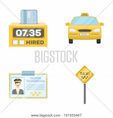 The counter of the fare in the taxi, the taxi car, the driver's badge, the parking lot of the car. Taxi set collection icons in cartoon style vector symbol stock illustration .