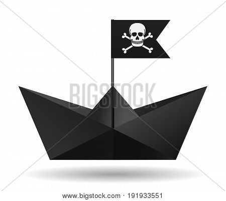 Black paper boat with a pirate flag. White background. Isolated object. Vector illustration