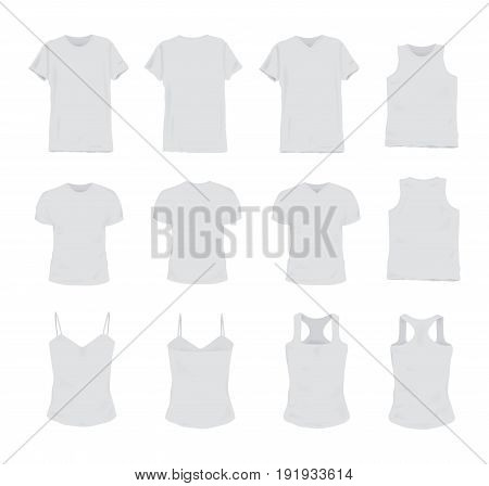 Set of different realistic white t-shirt for man and woman. Front and back view. Shirt sleeveless, short-sleeve, singlet, tank top. Vector illustration collection