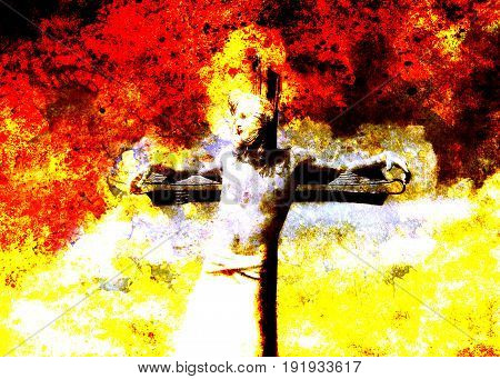 interpretation of Jesus on the cross, graphic painting version. Fire effect
