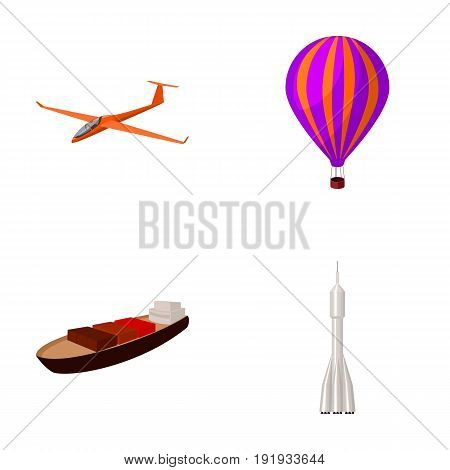 A drone, a glider, a balloon, a transportation barge, a space rocket transport modes. Transport set collection icons in cartoon style vector symbol stock illustration .