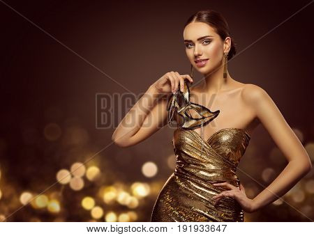 Woman Mask Fashion Model Face with Golden Carnival Mask Beauty Gold Dress