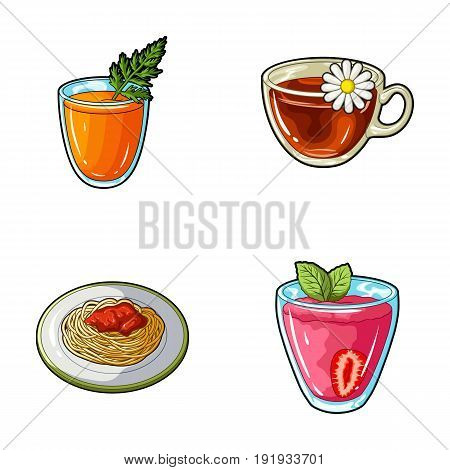 Carrot juice in a glass, chamomile tea in a cup, porridge on a plate, strawberry juice in a glass with a leaf. Vegetarian dishes set collection icons in cartoon style vector symbol stock illustration .
