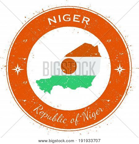 Niger Circular Patriotic Badge. Grunge Rubber Stamp With National Flag, Map And The Niger Written Al