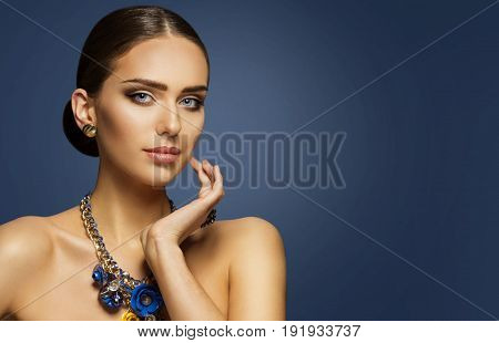 Fashion Model Makeup Woman Beauty Face Make Up Portrait Elegant Lady Touching Cheek